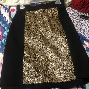 Black with gold sequins pencil skirt